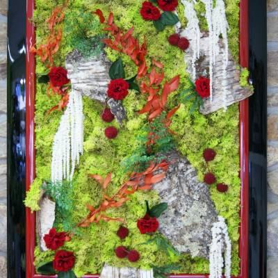 Tableau grand format forêt rouge blanc vert (stabilisé)